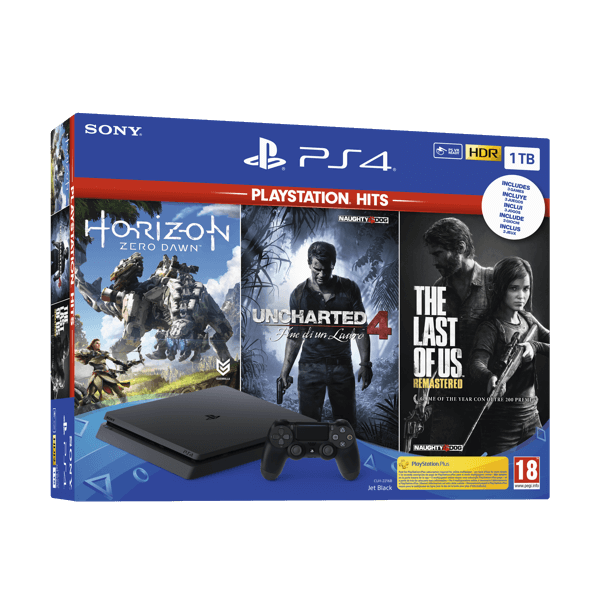 Sony PlayStation 4 PS4 Slim 1Tb + Horizon + Last of Us + Uncharted 4