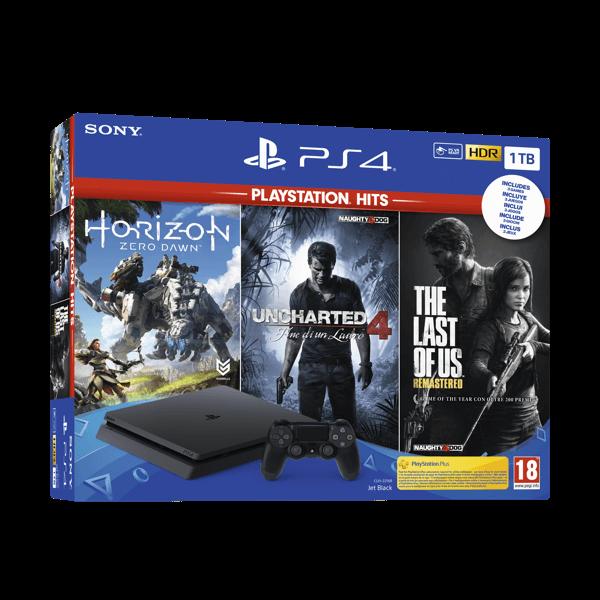 Sony PlayStation 4 PS4 Slim 1Tb + Horizon + Last of Us + Uncharted 4